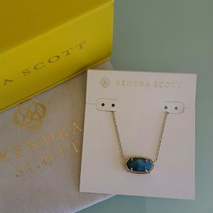 Kendra Scott Elisa gold necklace in Aqua Apatite